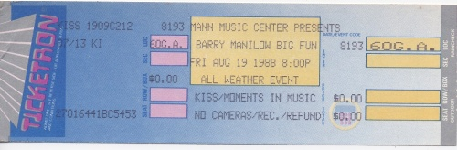 My unused Barry Manilow ticket from 1988